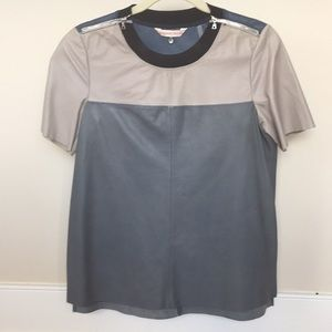 Rebecca Taylor Color Block Leather Tee